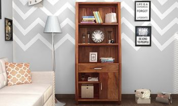 Furny Valera Teakwood Bookshelf (Teak Polish)