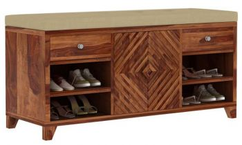 Furny Anker Teakwood Shoe Rack with Seat (Teak Polish)