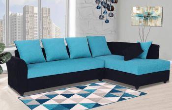 Furny Charleen 6 Seater RHS L Shape Sofa Set (Aqua Blue-Black)