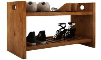 Furny Fraher Teakwood Shoe Rack (Teak Polish)