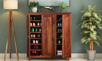 Furny Knott Teakwood Shoe Rack (Teak Polish)