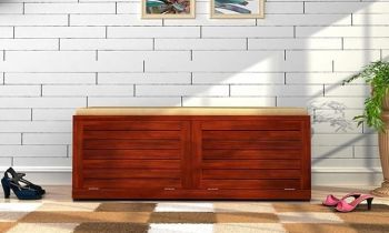 Furny Lisbon Teakwood Shoe Cabinet With Seat (Teak Polish)