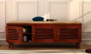 Furny Marion Teakwood Shoe Cabinet With Seat (Teak Polish)