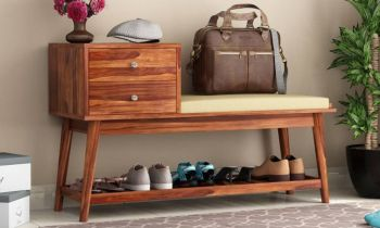 Furny Superro Teakwood Shoe Cabinet With Seat (Teak Polish)