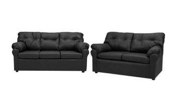 Furny Elzada Five Seater  3+2 Sofa Set (Black)