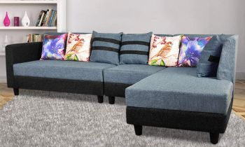Furny Amaze Six Seater RHS L Shape Sofa (Blue and Black)