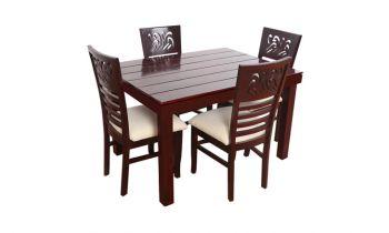 Furny Montoya Teak Wood 4 Seater Dining Table Set (Mahogany Polish)