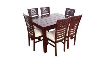 Furny Montoya Teak Wood 6 Seater Dining Table Set (Mahogany Polish)