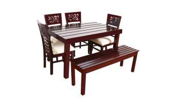 Furny Montoya Teak Wood 6 Seater Dining Table Set With Bench (Mahogany Polish)