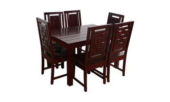 Furny Della Teak Wood Dining Table Set (Mahogany Polish)