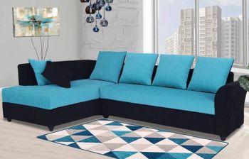 Furny Charleen 6 Seater LHS L Shape Sofa Set (Aqua Blue-Black)