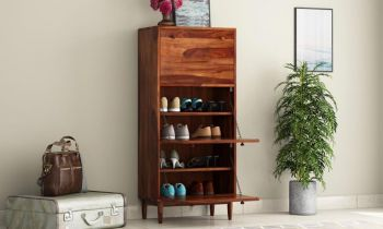 Furny Vista Teakwood Shoe Rack (Teak Polish)
