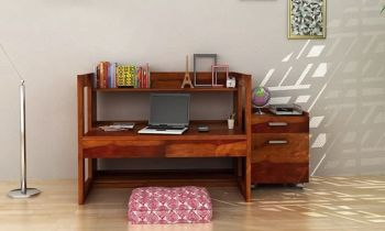 Furny Arbus Teakwood Study Table Cum Office Desk (Teak Polish)