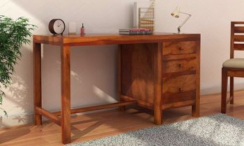 Furny Bailee Teakwood Study Table with Drawer (Teak Polish)