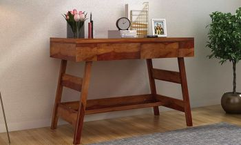 Furny Campton Adjustable Teakwood Study Table with Drawer (Teak Polish)