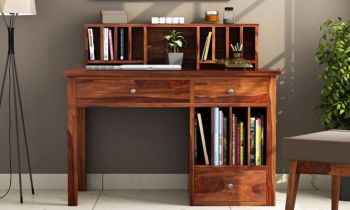Furny Casto Teakwood Study Table (Teak Polish)