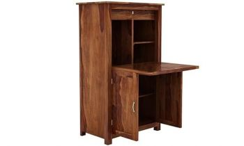 Furny Keshia Teakwood Study Table Cum Bookshelf (Teak Polish)