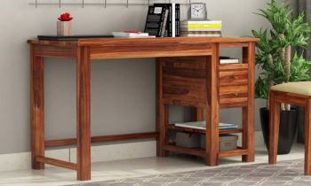 Furny Liza Teakwood Study Table Cum Bookshelf (Teak Polish)