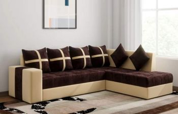 Furny Arnold 6 Seater RHS L Shape Sofa Set (Brown-Cream)