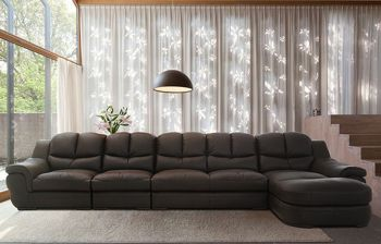 Furny Zamia Six Seater RHS L shape Sofa Set (Brown)
