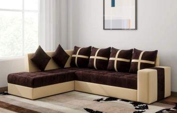 Furny Arnold 6 Seater LHS L Shape Sofa Set (Brown-Cream)