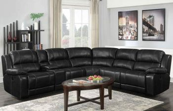 Furny Chester Six Seater Living Room Corner Recliner Sofa in Leatherette (Black)