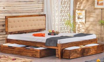 Furny Emerald Solid Wood Bed (Teak Wood)