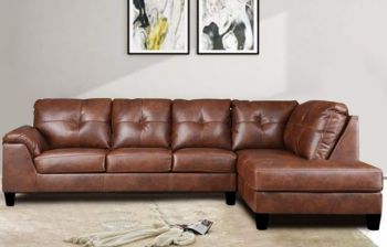 Furny Elizalina 6 Seater RHS L Shape Sofa (Brown)