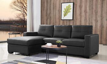 Furny Casafurnish Rochelle Four Seater L shape Sofa (Black)