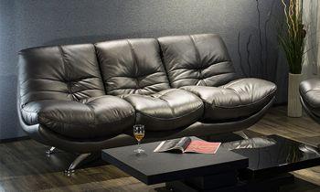 Furny Casafurnish Genoa Three Seater Sofa (Black)