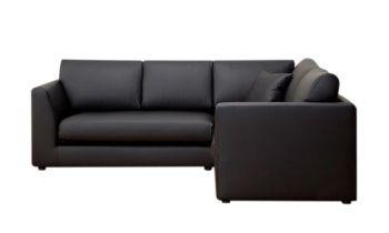 Furny Portland Four Seater L Shape Corner Sofa (Black)