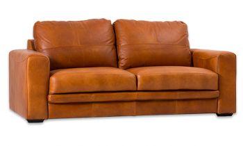 Furny Casafurnish Hudson Three Seater Leatherette Sofa (Tan)