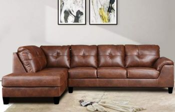 Furny Elizalina 6 Seater LHS L Shape Sofa (Brown)