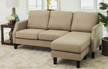 Furny Cressina 4 Seater Interchangeable L Shape Sofa (Beige) | Best for Living Rooms