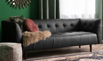 Furny Casafurnish Chryssa Three Seater Leatherette Sofa (Black)