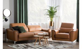 Furny Casafurnish Natalia Four Seater 3+1 Comfortable Leatherette Sofa Set (Camel)