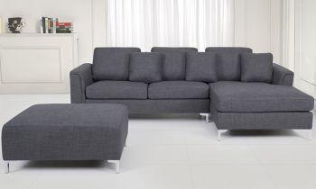 Furny Casafurnish Stefanos Five Seater L Shape RHS with Ottoman Sofa (Grey)