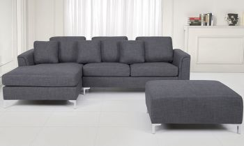 Furny Casafurnish Stefanos Five Seater L Shape LHS with Ottoman Sofa (Grey)