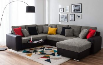 Furny Armani 7 Seater U Shaped Sofa Set - 3+2+2 Sofa (Light Grey-Black)
