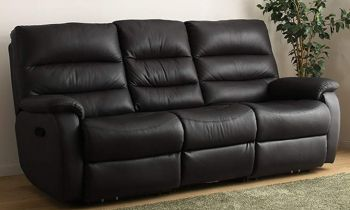 Furny Casafurnish Venetian Three Seater Recliner Sofa in Leatherette (Black)