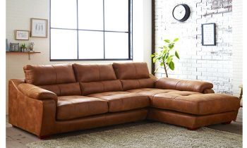 Furny Casafurnish Michalis Four Seater L shape RHS Leatherette Sofa (Tan)