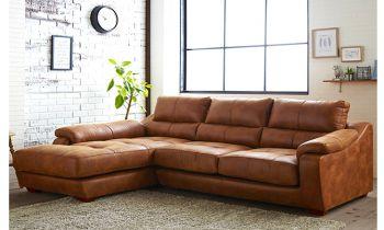 Furny Casafurnish Michalis Four Seater L shape LHS Leatherette Sofa (Tan)