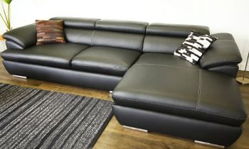 Furny Casafurnish Adonica Four Seater L shape RHS Leatherette Sofa (Black)