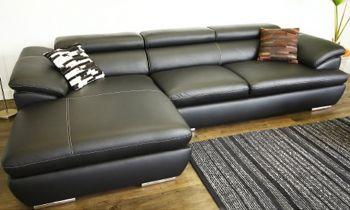 Furny Casafurnish Adonica Four Seater L shape LHS Leatherette Sofa (Black)