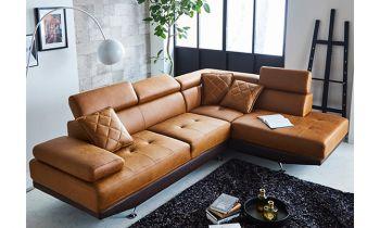 Furny Casafurnish Aldora Four Seater L shape RHS Leatherette Sofa (Tan-Brown)