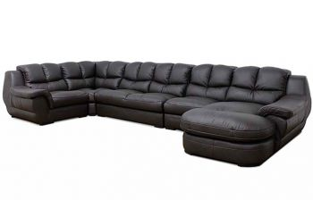 Furny Zamia U shaped 7 Seater Sofa Set (Brown)