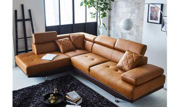 Furny Casafurnish Aldora Four Seater L shape LHS Leatherette Sofa (Tan-Brown)