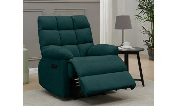 Furny Casafurnish Ronnie One Seater Fabric Recliner Sofa (Teal)