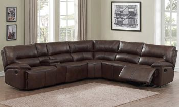 Furny Casafurnish Crosby Six Seater Corner Leatherette Recliner Sofa (Brown)