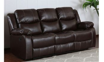 Furny Bernice Three Seater Recliner Sofa in Leatherette (Brown)
